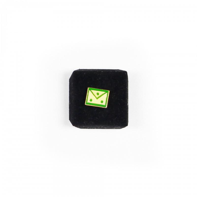 Epinglette Tablier, rectangulaire, émaillé vert/blanc