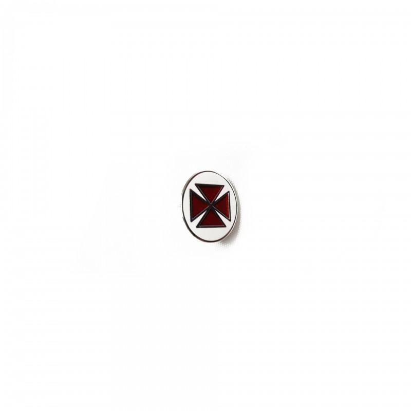Épinglette TEMPLE / C.B.C.S., croix pattée émaillée rouge cloisonné dans grand cercle blanc