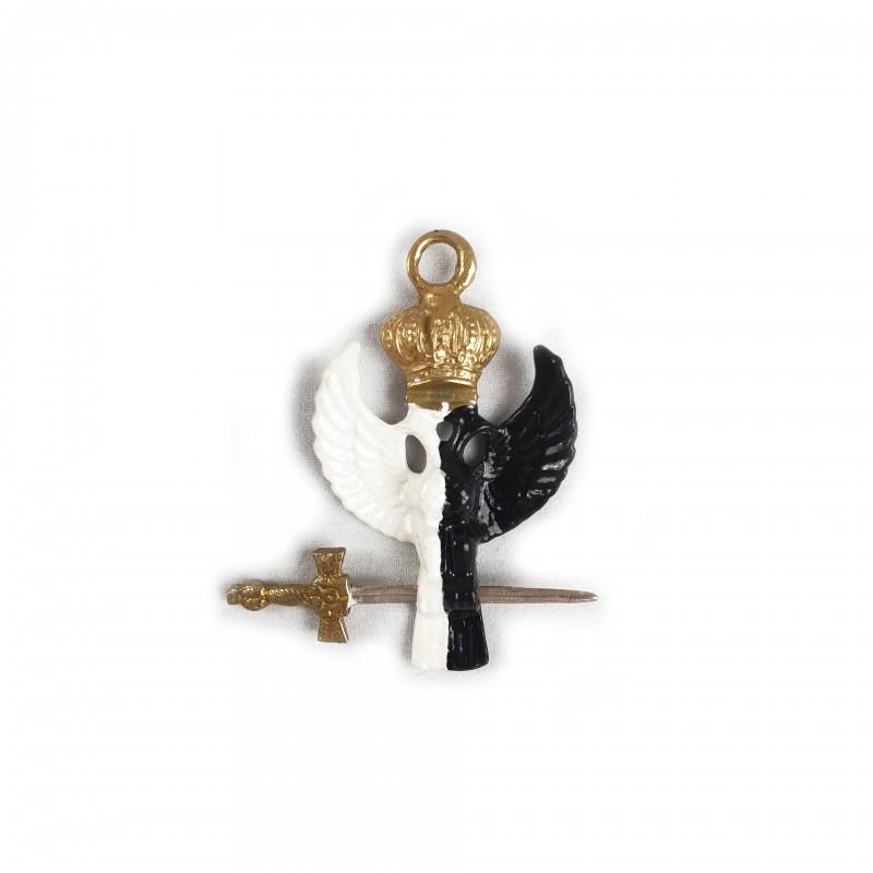 Bijou 30e, Aigle couronnée noir et blanc, bronze doré émaillé