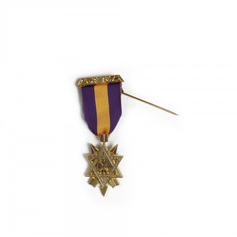 Bijou Membre 1º Grade MONITEUR, métal doré, ruban pourpre et jaune or