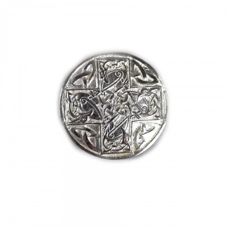 Boucle celtique pour manteau O.B.R.ERIN, laiton argenté OU doré
