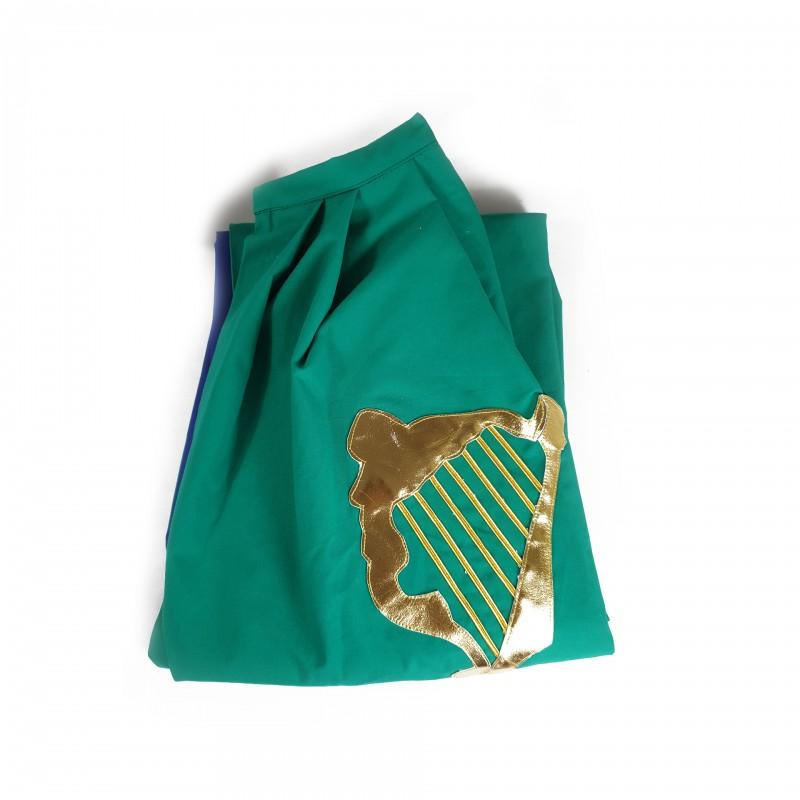 Manteau Chevalier Commandeur O.B.R.ERIN, tissu vert doublé blue, brodé harpe or, lacet de col