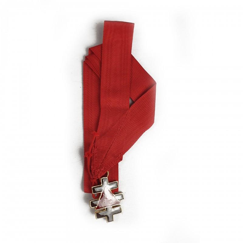 Bijou CTPSAR, bronze doré émaillé, ruban tour-de-cou rouge