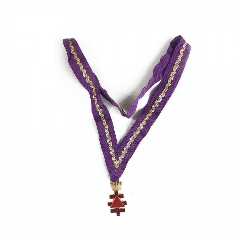 Bijou de Précepteur installé CTPSAR, bronze doré émaillé pourpre/rouge, couronne, ruban violet/doré