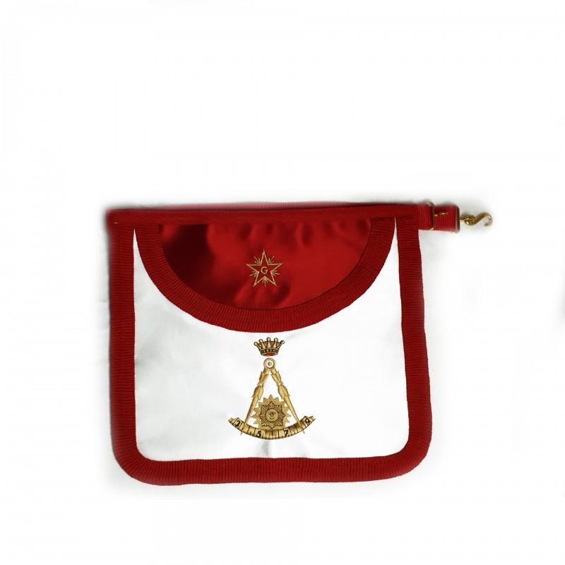 Tablier II° Ordre GCGF, arrondi, satin, brodé compas /segment 3,5,7,9, soleil & couronne,