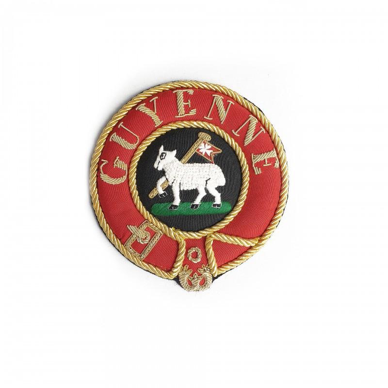 Badge de manteau Officier Provincial MALTE, ottoman, texte / emblème fonction brodé main