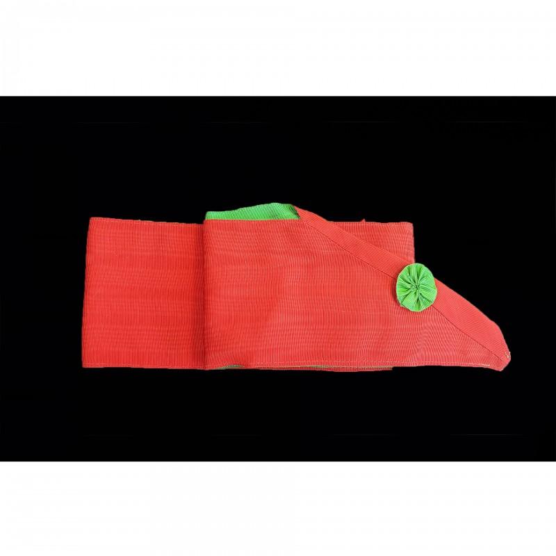 Cordon III° Ordre, moire rouge uni, cocarde verte