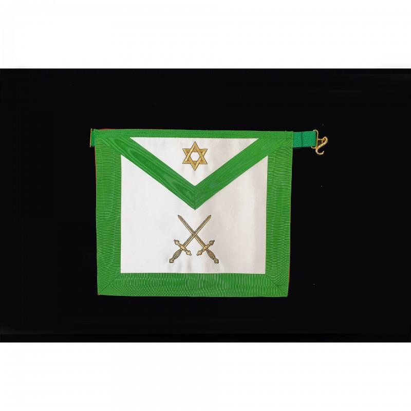 Tablier III° Ordre GCGF, rectangle, satin, brodé 2 glaives or, hexalpha s/ bavette