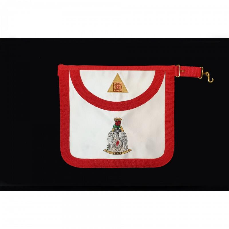 Tablier IV° Ordre GCGF, arrondi, satin, Pélican /compas/segment, triangles/carrés/cercles sur bavette