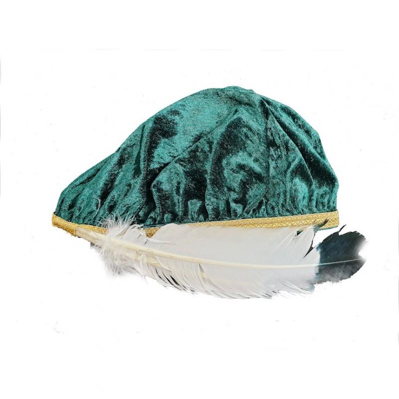 Béret Chevalier Commandeur O.B.R.ERIN, velours vert, galon doré + 2 plumes