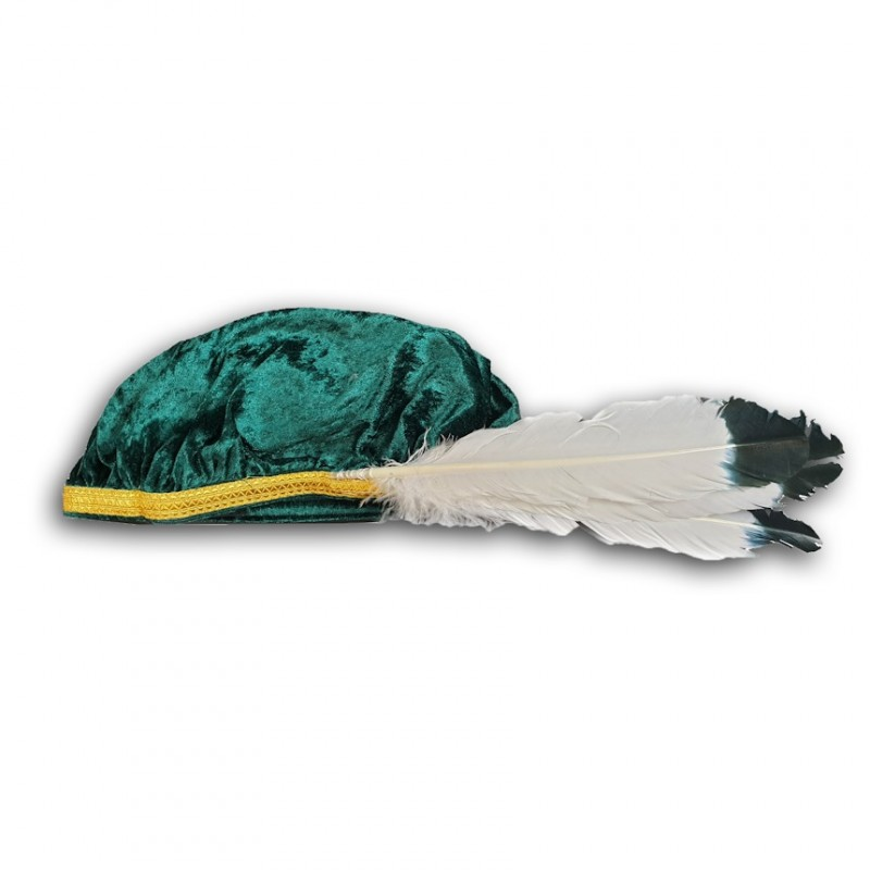 Béret Chevalier Grand Croix O.B.R.ERIN, velours vert, galon doré + 3 plumes