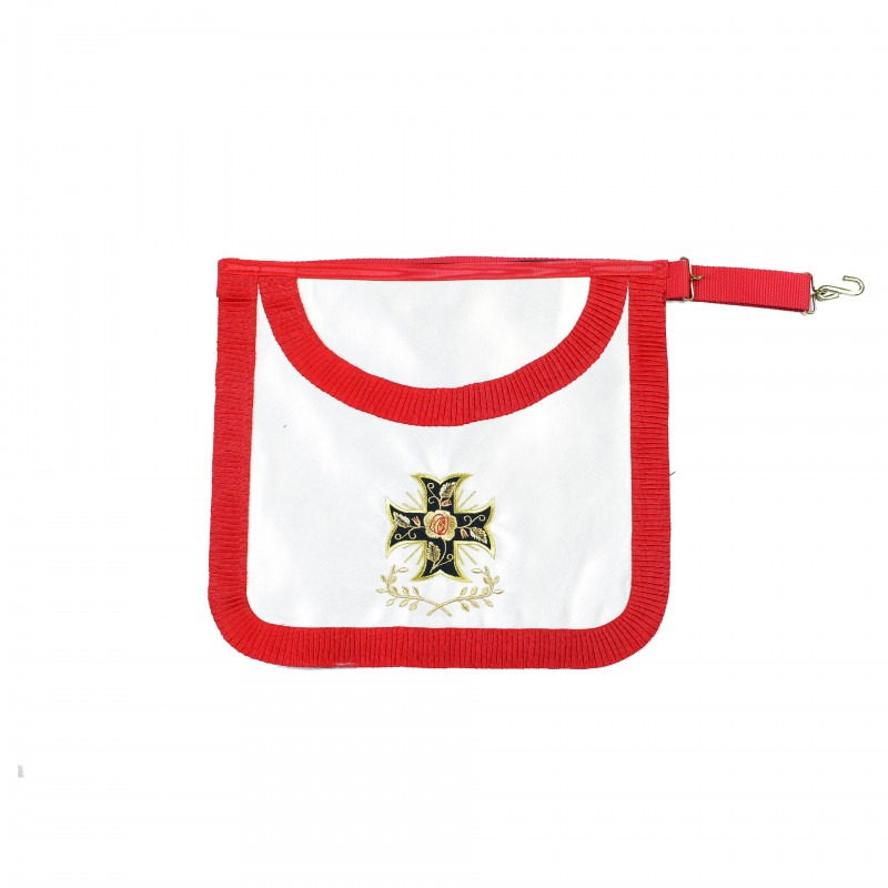 Tablier 18e forme arrondie ruban plissé, satin, croix ancrée ou potencée + Acacia