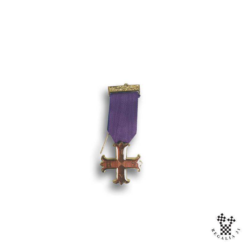 Croix Chevalier CRC, émail pourpre cloisonné / métal doré