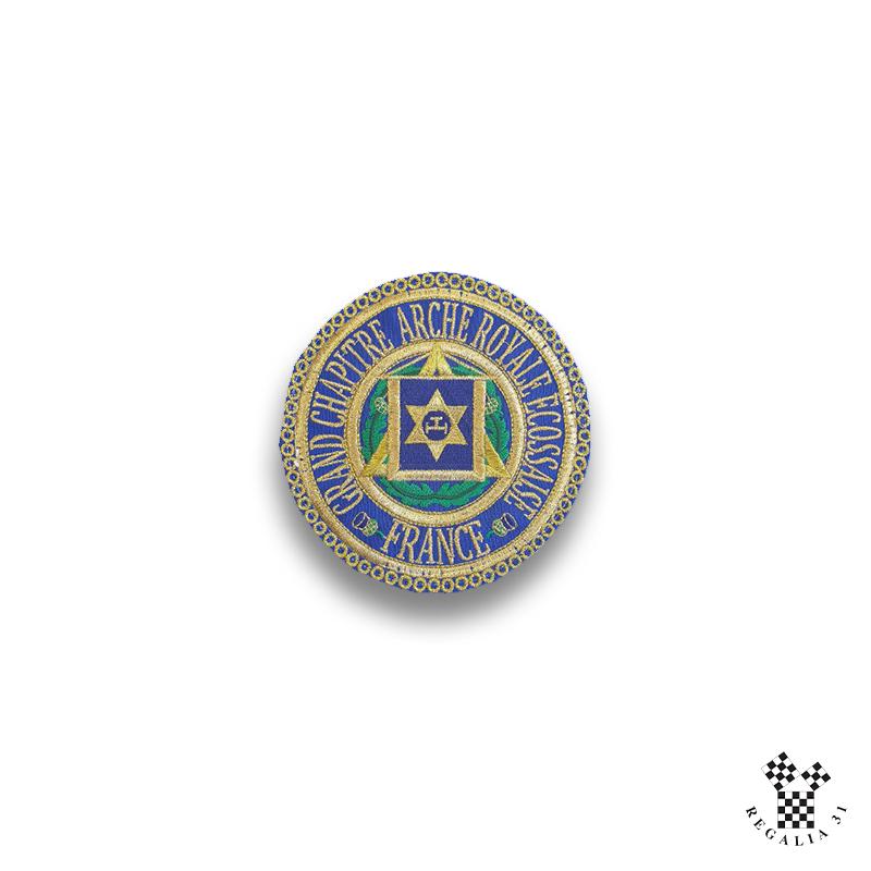 Badge de tablier gd officier honneur ARE brodé machine or/bleu/chardon