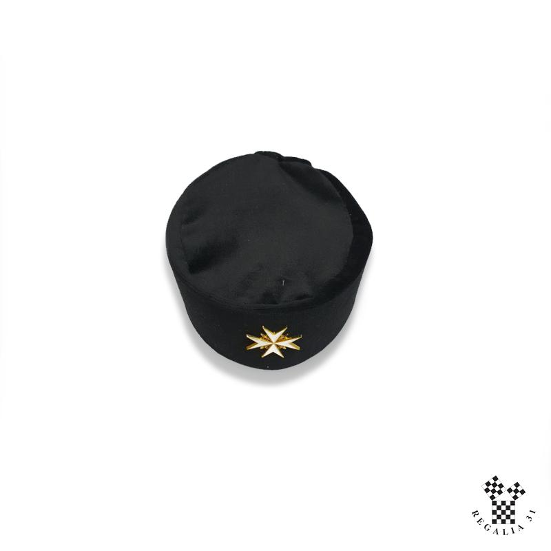 Toque MALTE, velours noir, croix métal doré émail blanc
