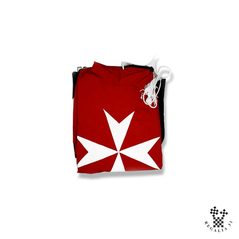 Tunique rouge Croix MALTE blanche, à manches, col officier, polyester
