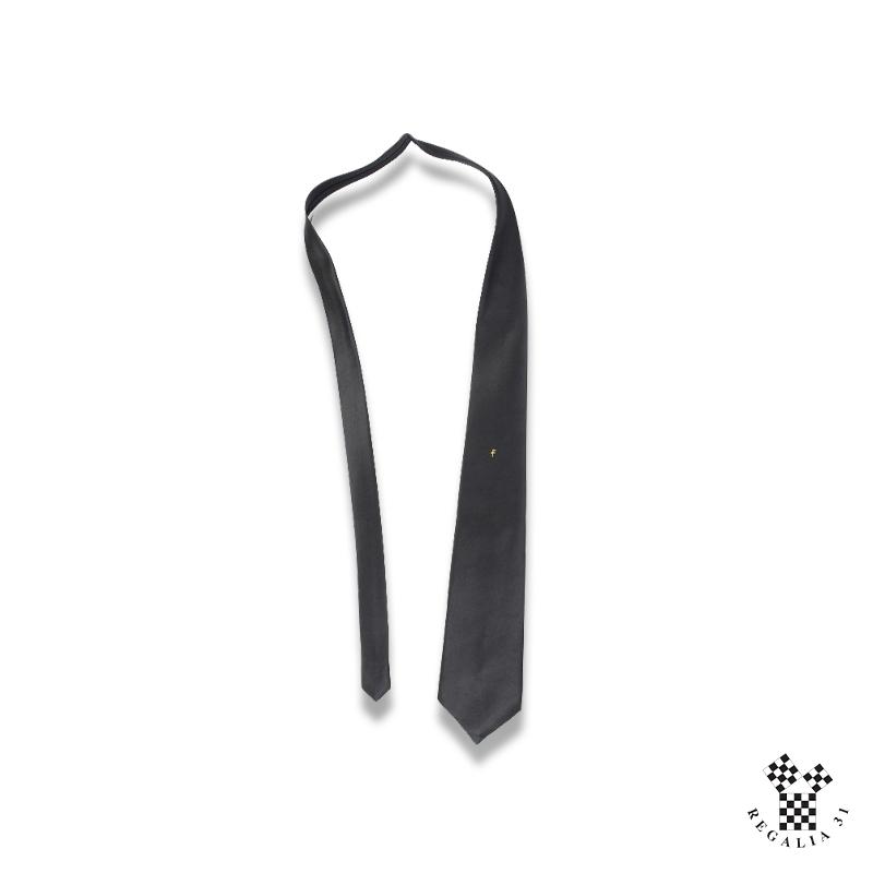 """Cravate polyester, noire, motif sérigraphié """"Two Balls Cane"""""""