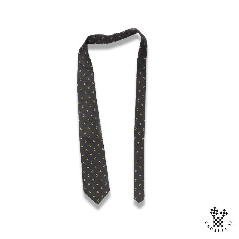 Équerres & Compas multiples vieil or,Cravate polyester, noire, motif tissé