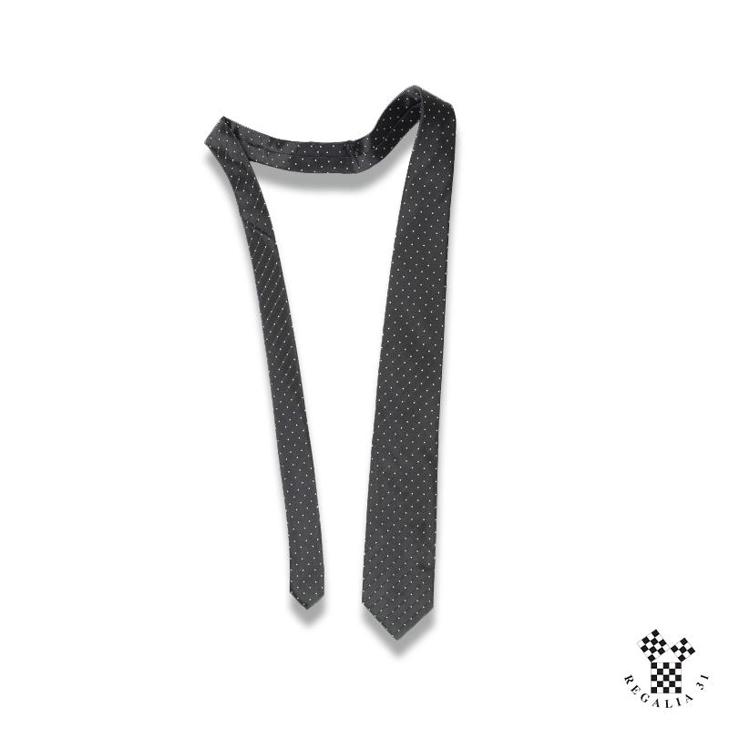 MARQUE, motif tissé, semé petits pois blancs,Cravate polyester, noire,