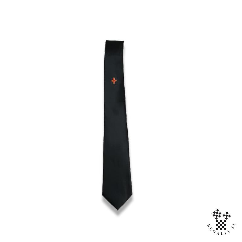 CONSTANTIN, motif sérigraphié Croix florencée rouge/or,Cravate polyester, noire,