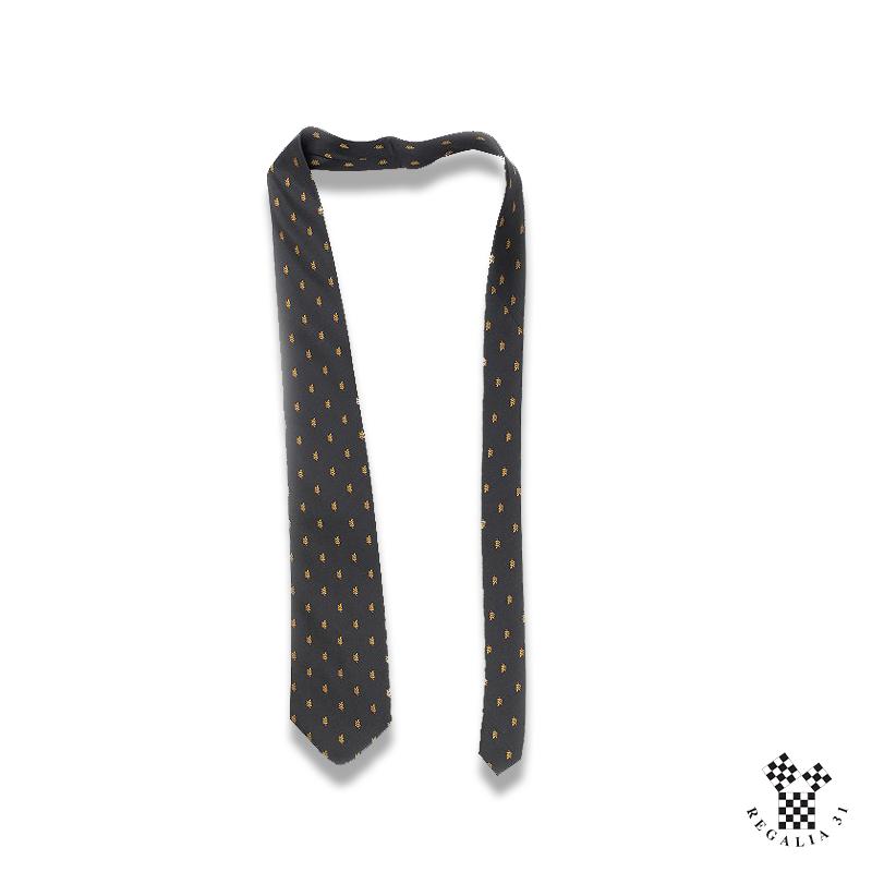 Acacia multiples vieil or,Cravate polyester, noire, motif tissé