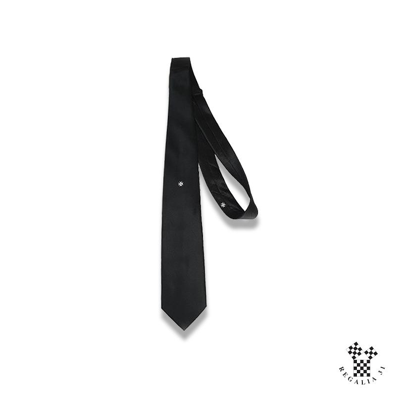 Croix de Malte blanc , Cravate polyester, noire, MALTE, motif tissé