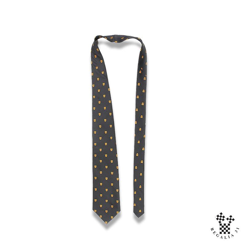 TEMPLE, motif tissé multiples écussons Or à Croix pattée rouge, Cravate polyester, noire,