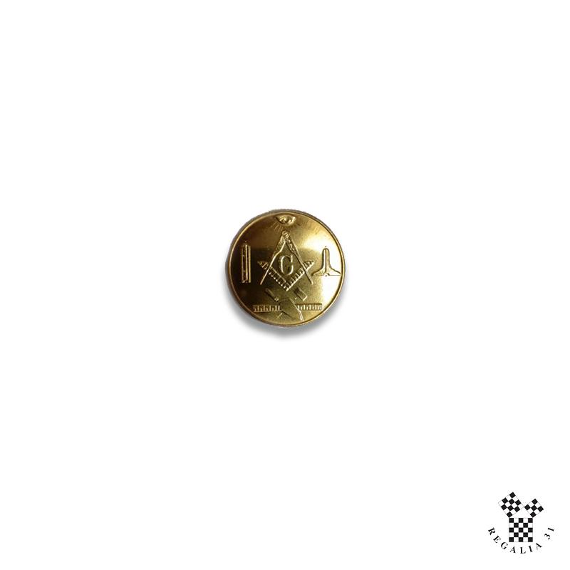 Jeton maçonnique emblématique, doré, avec verso à graver