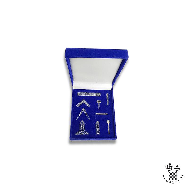 Boite de 9 outils EMULATION miniatures, dans coffret velours noir/bleu