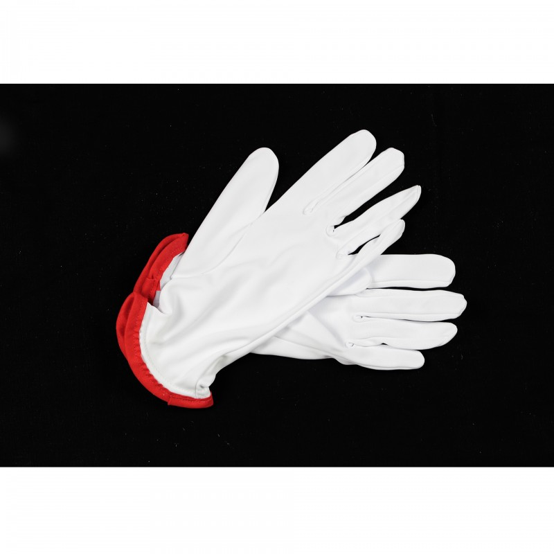 Gants nylon blanc, liseré rouge au poignet