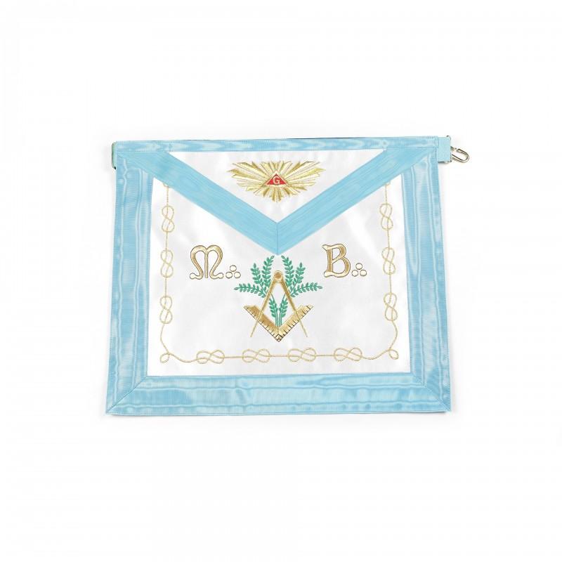 Tablier V.M. RF, rectangle, satin, ruban turquoise, bavette brodée Delta & G /Gloire