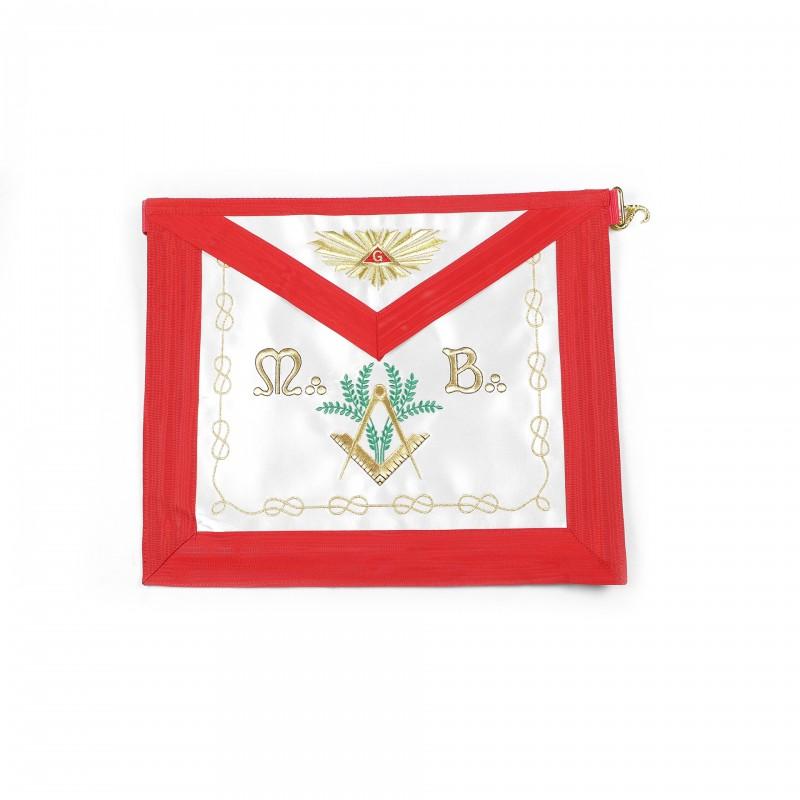 Tablier V.M. REAA, rectangle, satin, ruban rouge, bavette brodée Delta & G /Gloire