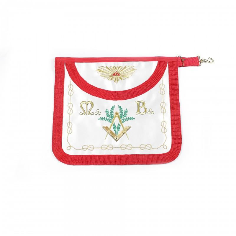 Tablier V.M. REAA, arrondi, satin, ruban rouge plissé, bavette brodée Delta & G /Gloire