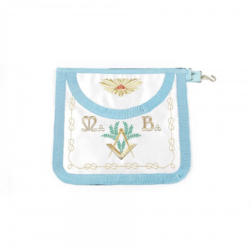 Tablier V.M. RF, arrondi, satin, ruban turquoise plissé, bavette brodée Delta & G /Gloire
