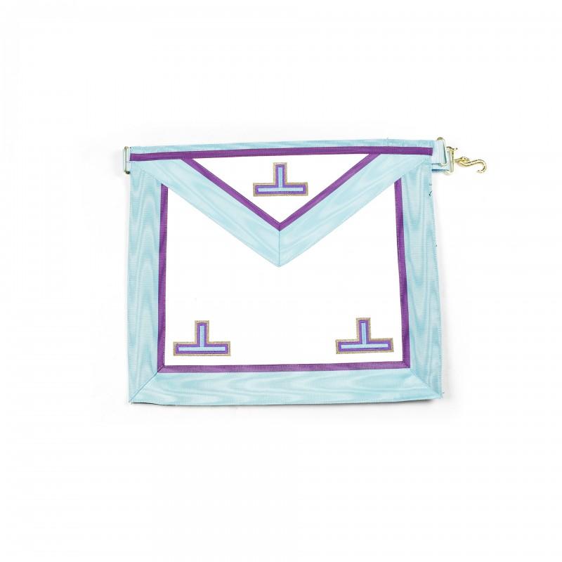 Tablier V.M. MEMPHIS, rectangle, peau, ruban turquoise/violet, sans chaînettes