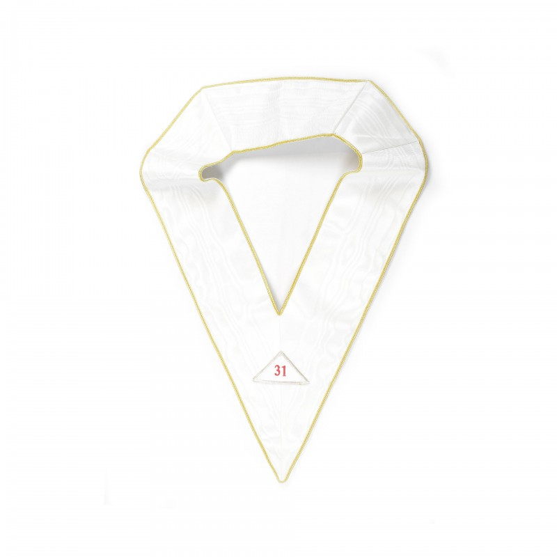 """Sautoir blanc 31/33e, simple, avec 3 triangles détachables brodés """"31"""", """"32"""", """"33"""""""