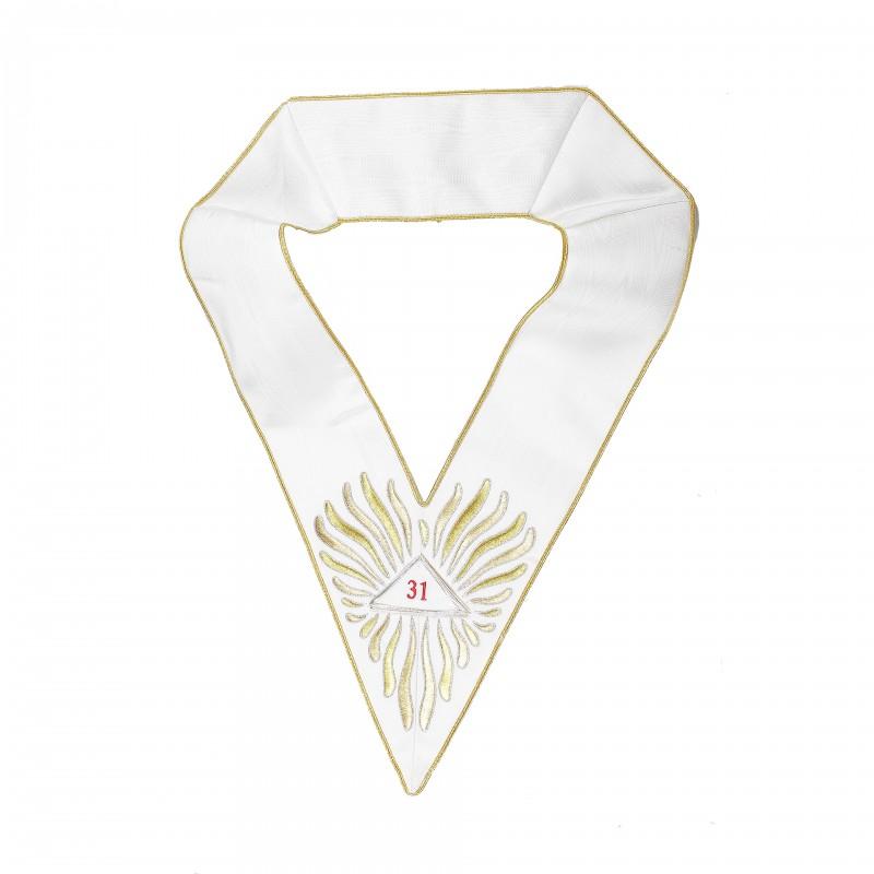 """Sautoir blanc 31/33e, comme 22331, brodé flammes, triangles détachables brodés """"31"""", """"32"""", """"33"""""""