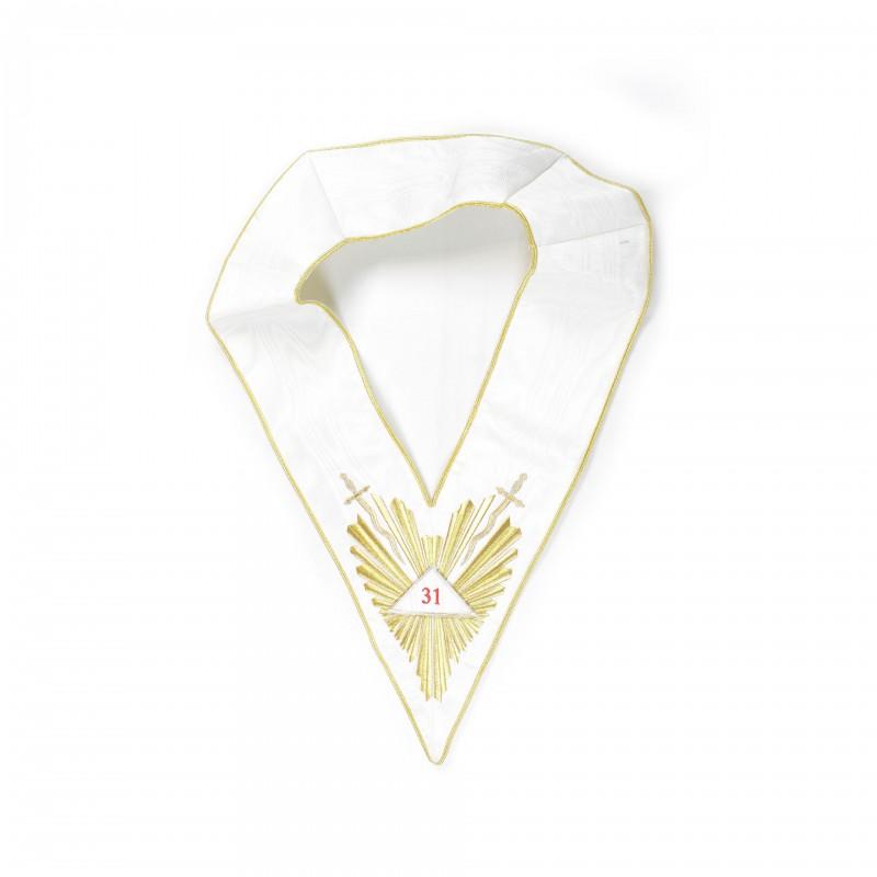 """Sautoir blanc 31/33e, comme 22331, brodé gloire et glaives, triangles détachables brodés """"31"""", """"32"""", """"33"""""""