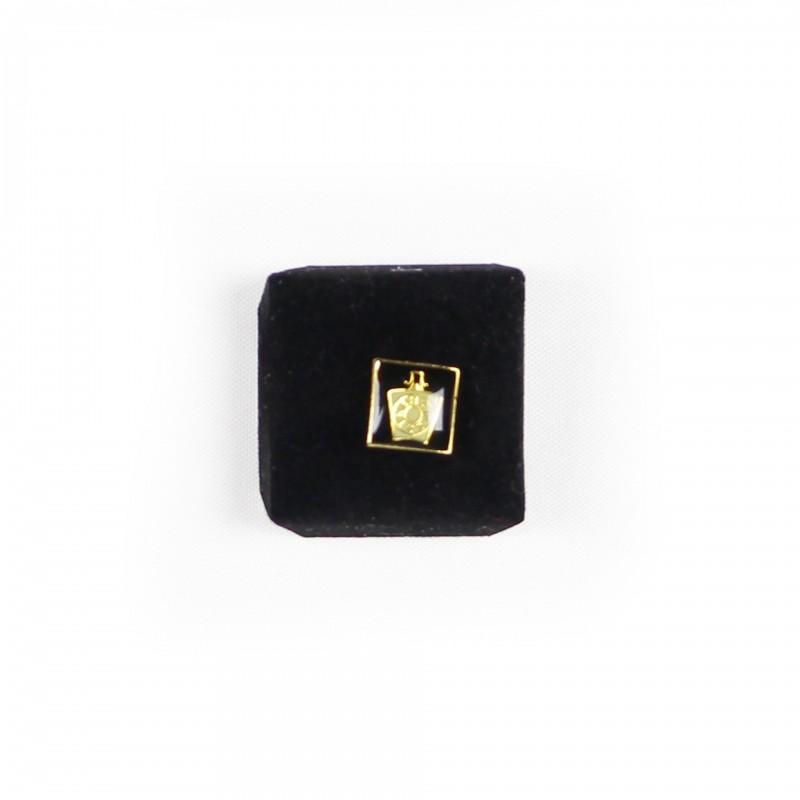 Épinglette MARQUE, Clé-de-Voûte émaux blanc & noir / carré cloisonné, métal doré