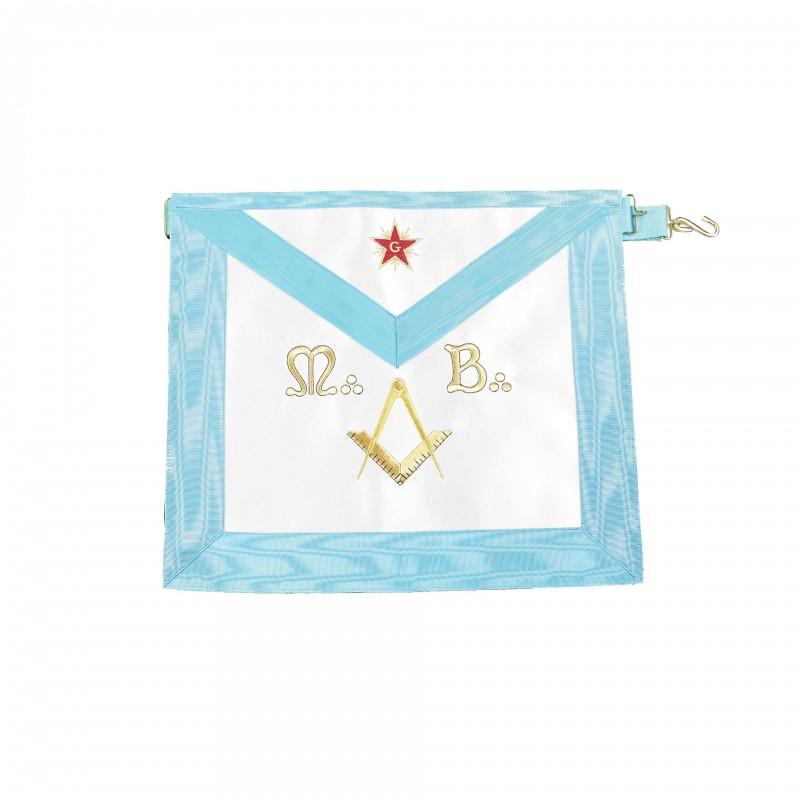 Tablier M.M. RF, rectangle, satin, brodé étoile, M.B., éq.& compas (turq. 39 x 34)