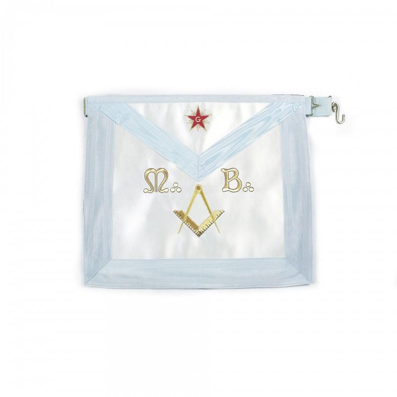 Tablier M.M. RFM, rectangle, satin, brodé étoile, M.B., éq.& compas (bl.pâle 39 x 34)