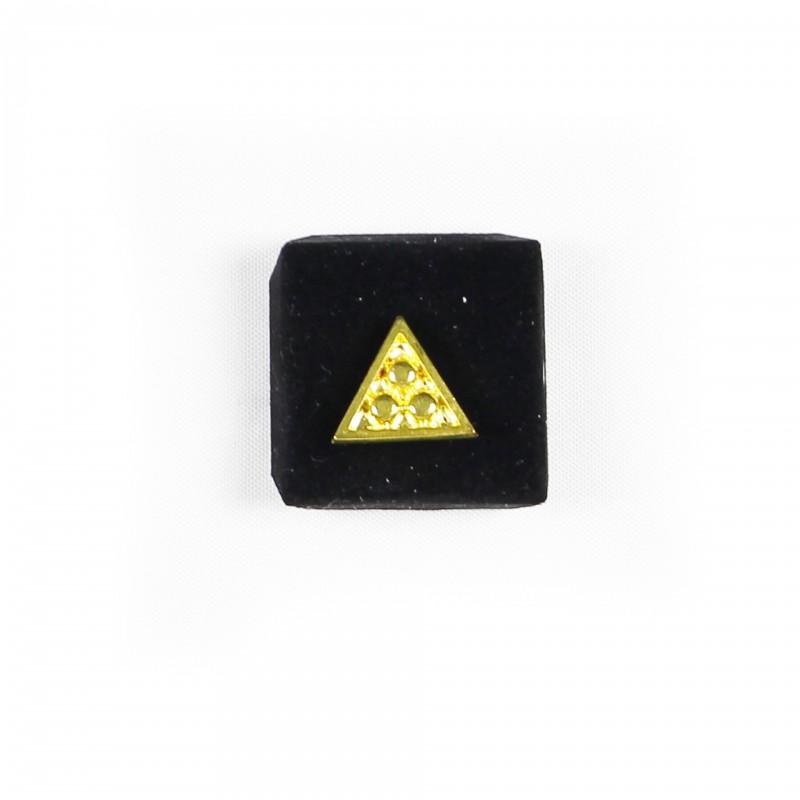 Épinglette Triangle plein avec trois points-boules, métal doré
