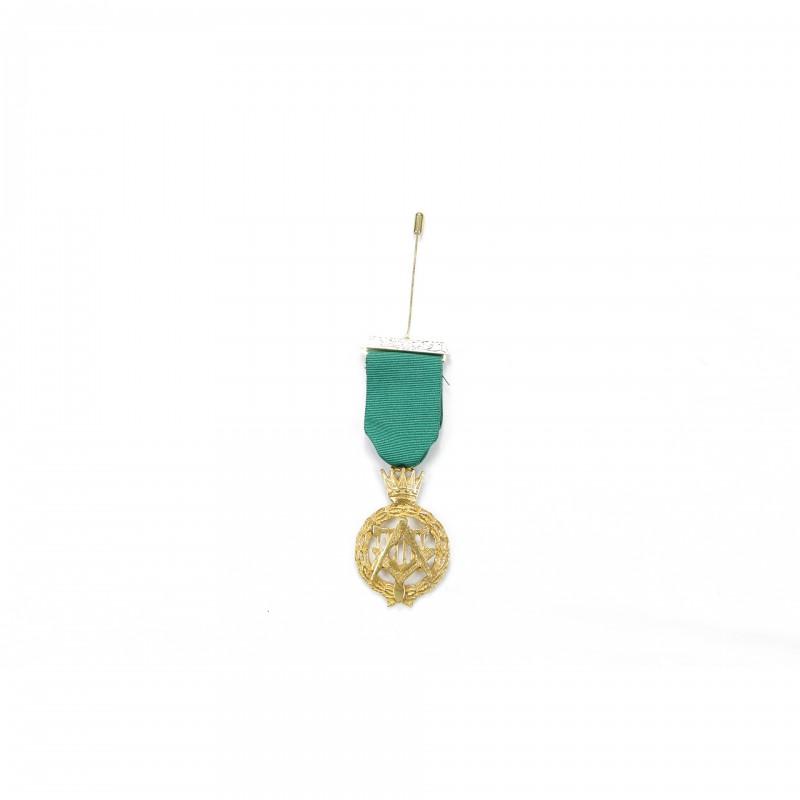 Bijou de poitrine P.Souv.M. ALLIÉS, emblème argenté sous ruban vert