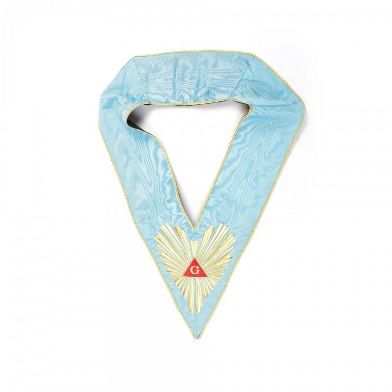 Sautoir de V.M./An.V.M., RF, turquoise, brodé Delta/Gloire, 66-rayons, soutache or