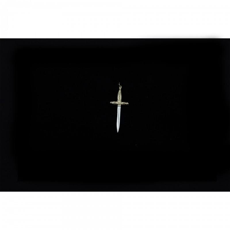 Bijou de cordon I° Ordre, petit poignard bronze, garde dorée et lame argent