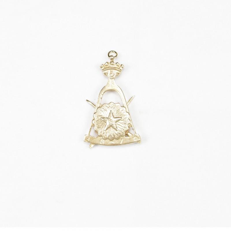 Bijou de cordon III° Ordre, compas, segment 3.5.7.9 & 2 glaives en sautoir, bronze doré