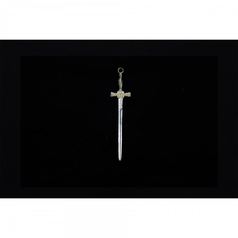 Bijou de cordon I° Ordre, poignard 25 cm, bronze argenté