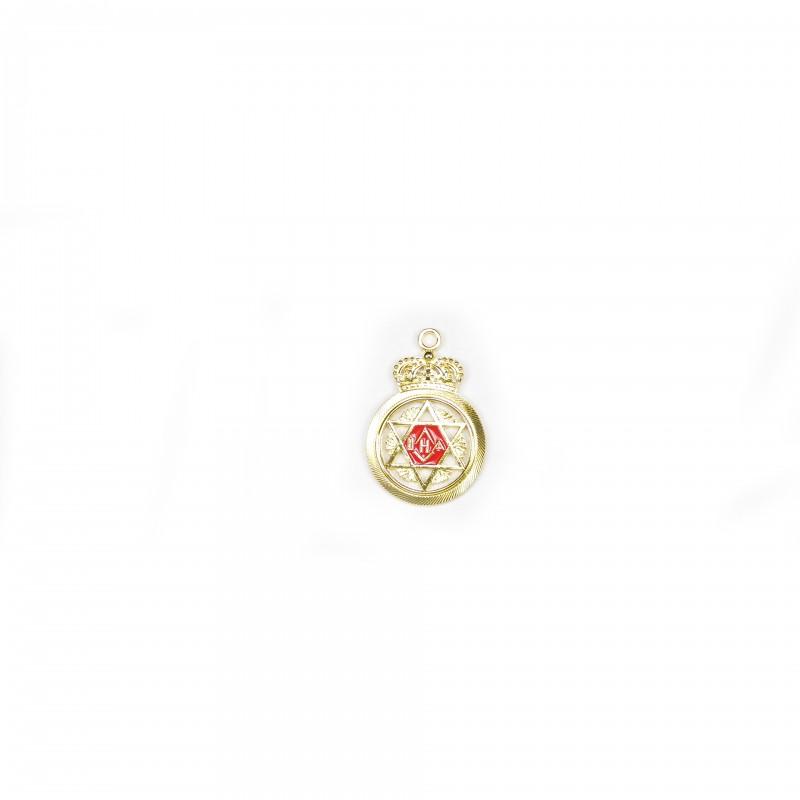 Bijou M.E.S.A., bronze doré biface émaillé rouge & X argent