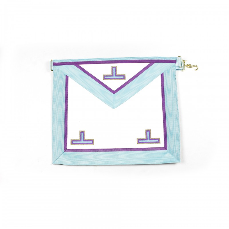 Tablier V.M. MEMPHIS, rectangle, satin, ruban turquoise/violet, sans chaînettes