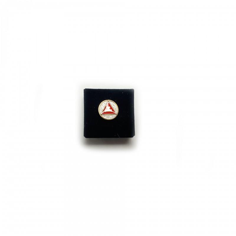Épinglette ARCHE, Triple-Tau, triangle, cercle, émaux rouge & blanc cloisonné / métal doré
